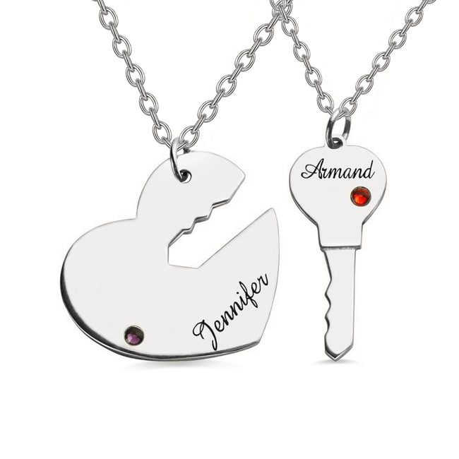 Key To My Heart Couple Name Pendant Necklaces sterling silver Couple Name Personalized Necklaces Set