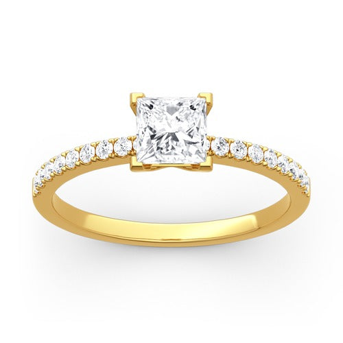 Princess Cut 925 Sterling Silver/ 10K Gold/ 14K Gold Ring