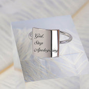925 Silver Girl Stop Apologizing Girl Wash Your Face Ring Positive Energy Sentence Ring Inspirational Ring