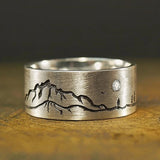 925 Sterling Silver Vintage Landscape Painting Carved Unisex Rings Shiny Crystal Zirconia Chic Women Men Finger Ring for Party