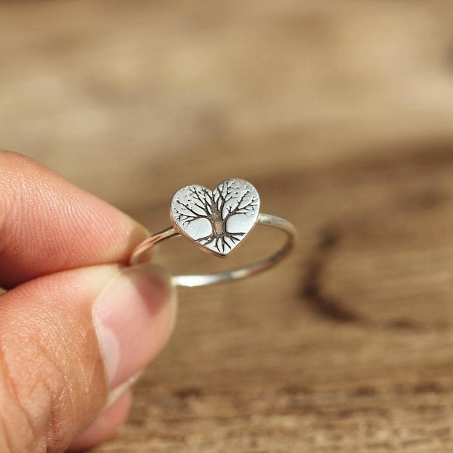 Solid 925 Silver Pine Tree Ring Sterling Silver Evergreen Tree Jewelry Heart Ring Nature Ring Forest Ring Nature Jewelry Tree Ring Silver