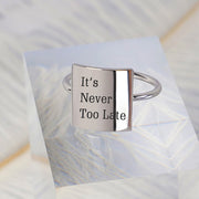 925 Silver It's Never Too Late Ring Positive Energy Sentence Ring Inspirational Ring