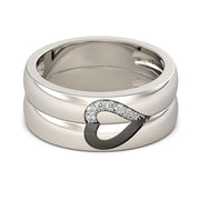 Romanticwork Love Shape Sterling Silver Band Set