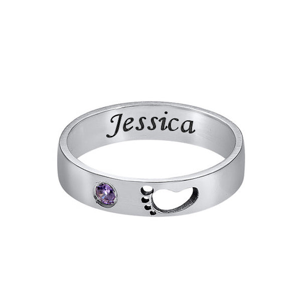 Hollow Baby Footprints Birthstone Name Ring