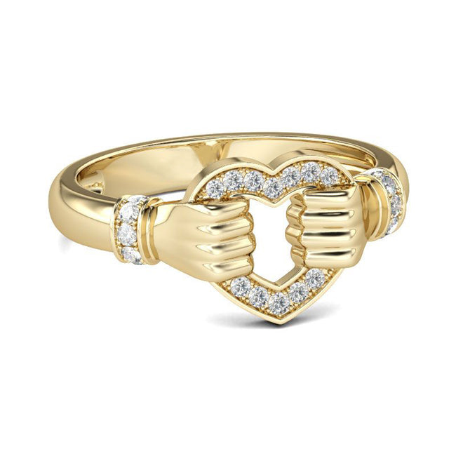 Gold Tone Heart Design Sterling Silver Cocktail Ring
