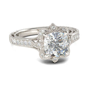 Romanticwork Vintage Floral Cushion Cut Ring