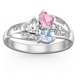 Heart Cluster Mother's Ring with Accents