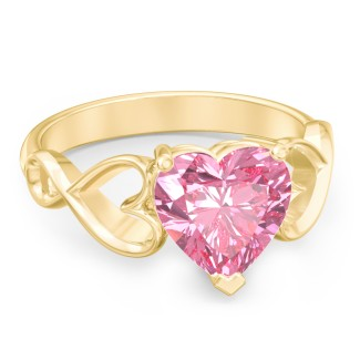 Heart Shaped Stone with Interwoven Heart Infinity Band 925 Sterling Silver/ 10K Gold/ 14K Gold Ring