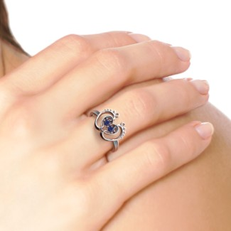 Baby Footprint and Heart Ring with Gemstones