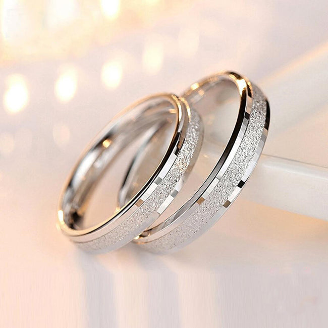 Couple Rings 925 Sterling Silver Frosted Circle Alliance Real Love Couple Rings Jewelry For Lovers Wedding Engagement Ring