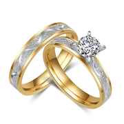 Simple 925 silver Wedding Ring For Women Men Never Fade Gold Color Female Male Classic Engagement Alliance Ring Sets