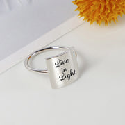 925 Silver Live in Light Ring Live in Love Ring Positive Energy Sentence Ring Inspirational Ring