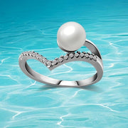 New Bohemia  pearl ring fashion female charm ring pearl jewelry Women's gift 925 silver  jewelry