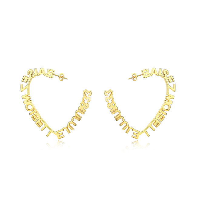 Heart shaped love letter earrings