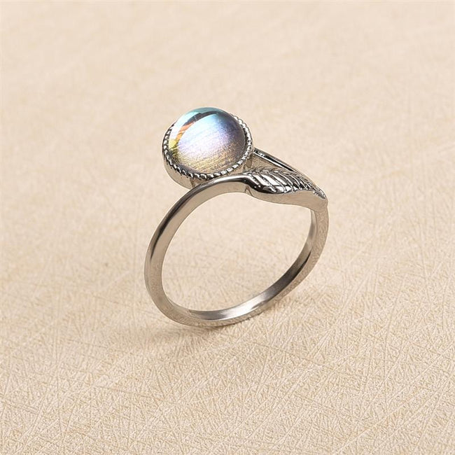 Fashion New Women Jewelry Natural Stone Leaves Rings Moonstone Vintage Opal Rings Open Size Silver Color Adjustable Ring