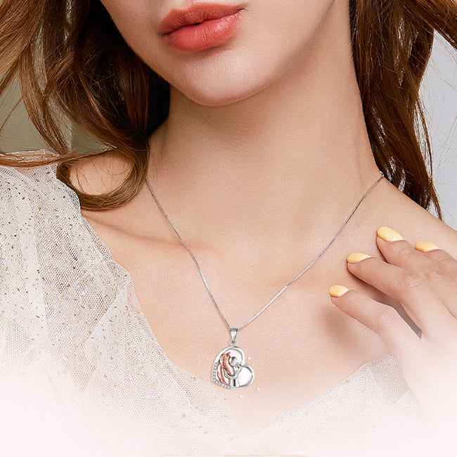 Sterling Silver Lovely Animal Heart Moon Pendant Necklace Jewelry Gift for Women Girls 18""