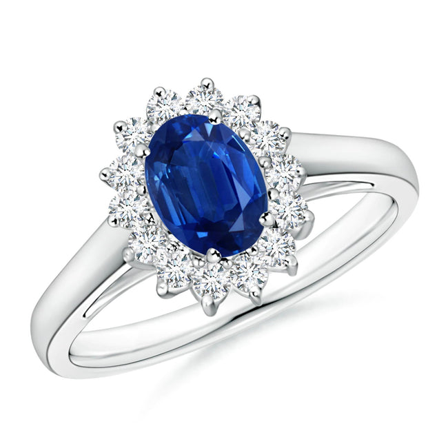 Princess Diana Inspired Blue Sapphire Ring with Zircon Halo
