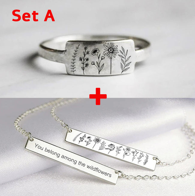 You Belong Among The Wildflowers S925 Sterling Silver Wildflowers Nature Jewelry Set(2 pcs set)