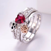 Skull Finger female wedding rings set For Women Girl Red Heart Crystal CZ Rose Flower Skeleton Gothic Jewelry Gift ring