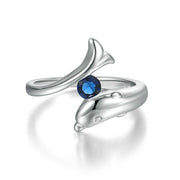 Trendy Birthstone Rings for Women New Design Dolphins Style 925 Silver & 12 Colors Wedding Engagement Xmas Fashion Jewelry