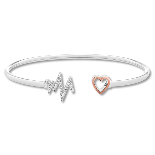 Mozambique Diamond Heartbeat Bangle Bracelet in Sterling Silver
