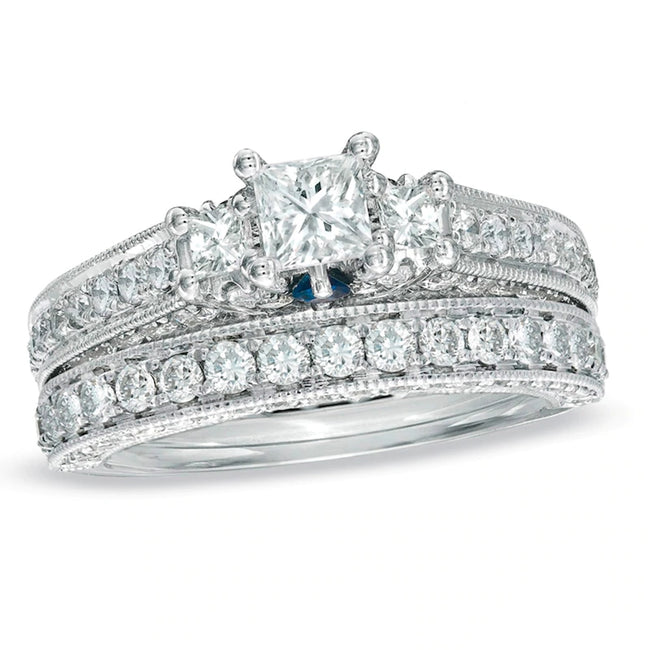 2 CT. T.W. Princess-Cut Gemstone Three Stone Vintage-Style Bridal Set in 925 sterling silver