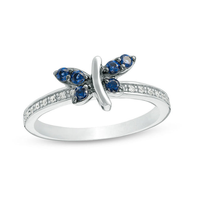 Blue and White Sapphire Dragonfly Ring in 925 Sterling Silver