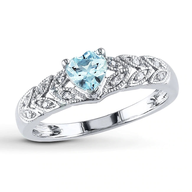 Aquamarine Heart Ring 1/20 ct tw Gemstone Sterling Silver