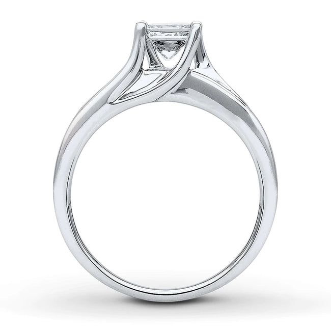 🔥[42% OFF Only This Week]🔥14K White Gold 7mm Diamonds Ring Engagement Ring Wedding Ring Gift for Anniversary