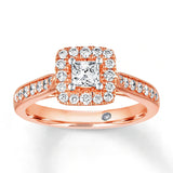 Mozambique Diamond Engagement Ring 5/8 Carat tw 14K Rose Gold/925 sterling silver