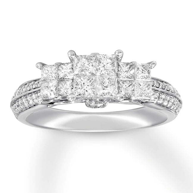 Mozambique Diamond Engagement Ring 1 ct tw Princess/Round 14K White Gold/925 sterling silver