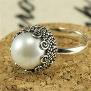 Vintage Pearl Ring Bohemia Antique Silver Color Rings for Women Wedding Engagement Luxury Ring Jewelry