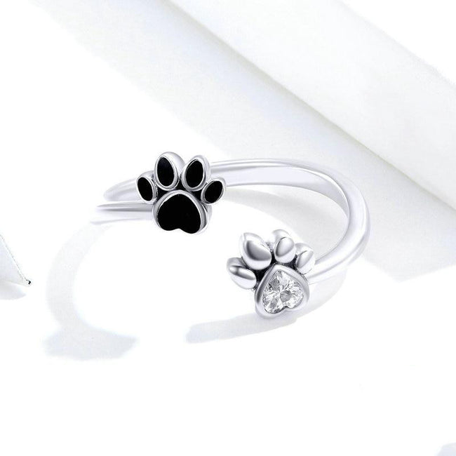 Sterling Silver 925 Dog Paw Open Adjustable Finger Rings for Women Anti-allergy Jewelry Accessories