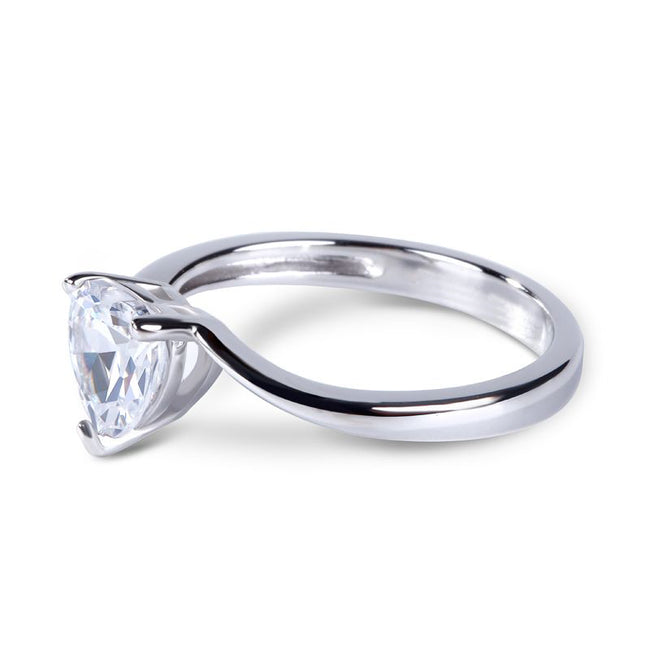 Bypass Heart Cut Sterling Silver Ring