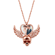 Wings Skull Heart Photo Necklace 925 Sterling Silver 18k Rose Gold Plated
