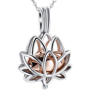 Cremation Jewelry for Ashes - Lotus Flower Ashes Pendant Necklace with Mini Keepsake Urn Memorial Ash Jewelry urn necklace Imrsanl Rose Gold