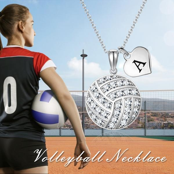 Custom Zircon Volleyball Silver Chain Necklace Choose Initial Charm All 26 Geometric necklace Holly Road