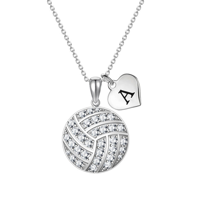 Custom Zircon Volleyball Silver Chain Necklace Choose Initial Charm All 26 Geometric necklace Holly Road Silver
