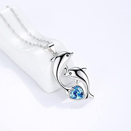 Dolphin Necklace 925 Sterling Silver Women Necklace Dolphin Jewelry with Birthstone Heart Ocean necklace Cuoka