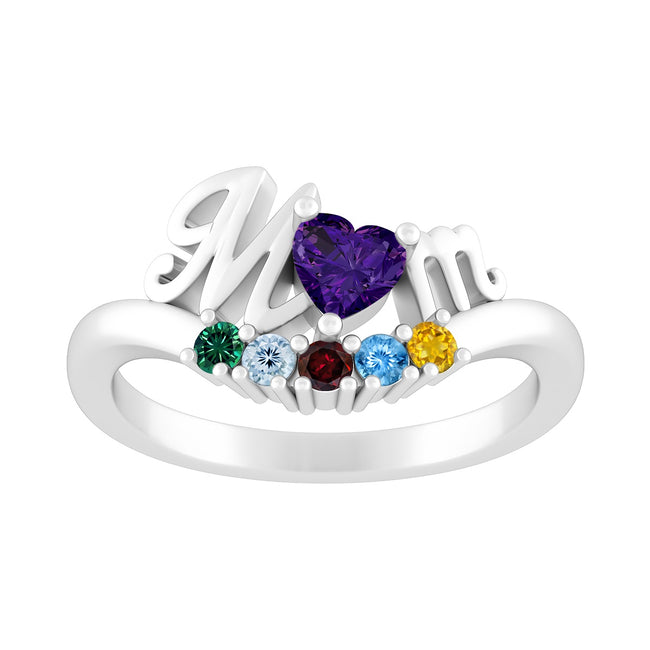 Color Stone 'Mom' Ring