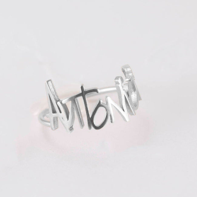 Signature Ring • Memorial Signature Jewelry • Custom Actual Handwriting Ring Sterling Silver • Name Ring • Sympathy Gift • Mom Gift