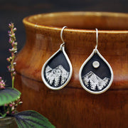 Midnight Summit - Moonstone & Sterling Silver Dangles - Full Moon Mountain Pines - Mismatched Teardrop Earrings - Gift for Mountain Lovers