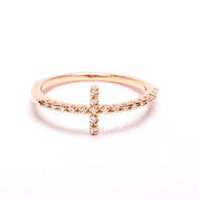 Sideways Cross Ring, Cross Rings, Dainty Cross Rings, Gifts for Her, Silver Cross Rings, Celebrity Ring, STERLING SILVER