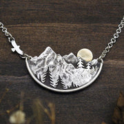Adventure Awaits Mountain Landscape Necklace Wanderlust Jewelry Sterling Silver & 14k Gold Handmade Gift For Outdoor Lovers