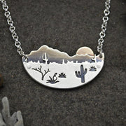 Desert Sun Necklace Silver and 14K Gold Metalwork Arizona Saguaro Cactus Landscape Southwestern Boho Jewelry Mixed Metal