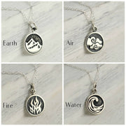 Four Elements Necklace, Sterling Silver, Fire, Air, Water, Earth - Elemental Jewelry on Sterling Silver Chain or Charm only