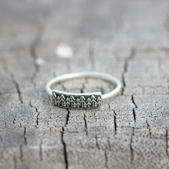 sterling silver Pine Tree Ring- Forest Moon Necklace,EvergreenTree Ring,Winter Trees Jewelry,everyday jewelry,dainty ring,gift for her
