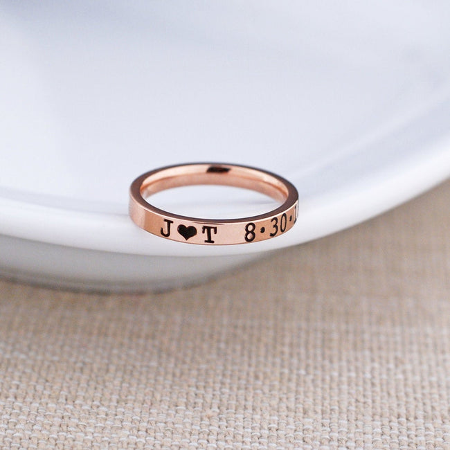 Anniversary Gift for Her, Personalized Valentine's Day Gift, Rose Gold Color Engraved Ring, Mother's Day Gift for Wife, Gift for Girlfriend