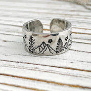 Mountains and Trees Hand Stamped 925 Silver Ring / Mountains and Stars InspirationalRing /
