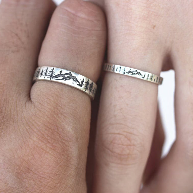 925 Silver Solid Evergreen Tree Ring Nature Ring Forest Ring Mountain Ring Couple Ring Christmas Gift